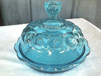 "Blue Moon And Stars Glass Covered Dish 7 1/2"" Round Excellent Vintage Condtion!"
