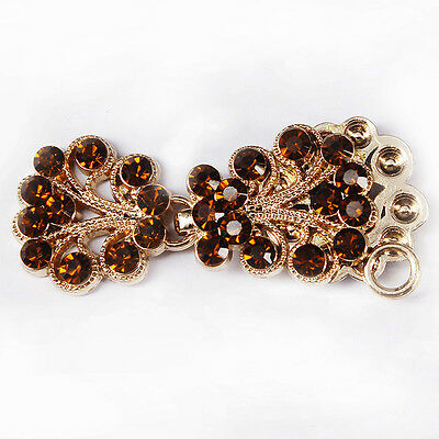 5set Crafts Closure Clasps Button Brown Crystal Gold Tone Metal Hook Eyes Clasp
