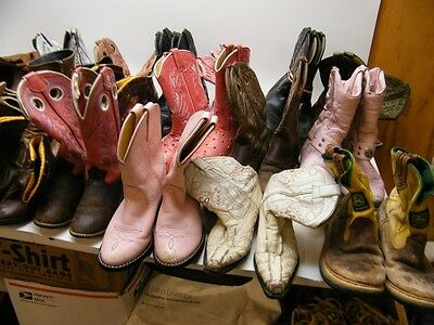 Lot Of 25 Pairs Kids Youth Boys Girls Worn Cowboy Western Craft Boots Wholesale