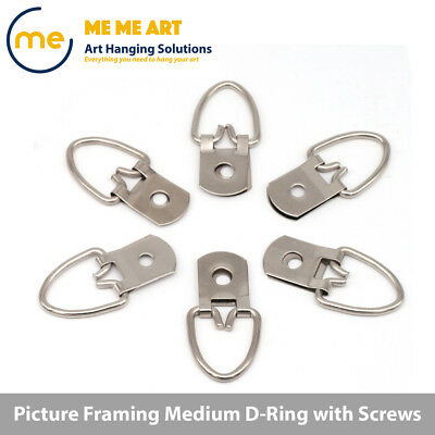 10/20/40/100 Medium D-Ring Painting Picture Frame Hanger Hanging Hooks+Screw