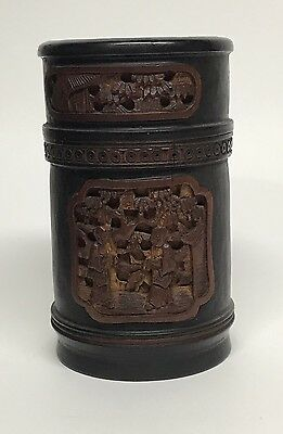 Chinese Carved Bamboo Brush Pot With Lid Marked