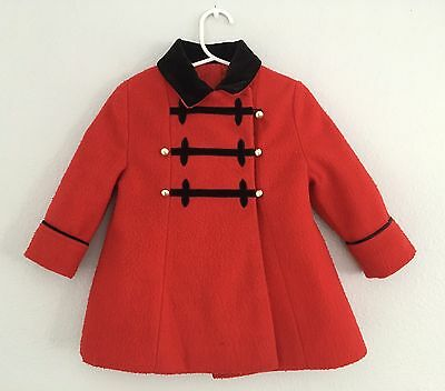 Vintage 50s/60s Girls Red Peacoat With Black Velvet Collar Sz 18 Months