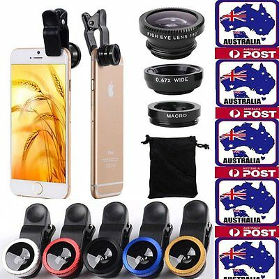 3in1 Fish Eye + Wide Angle Macro Lens Camera Clip for iPhone 7 6+ Plus 6 5S 5SE