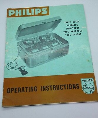 Vintage PHILIPS ER1500 Twin-Track Tape Recorder ORIGINAL instruction manual