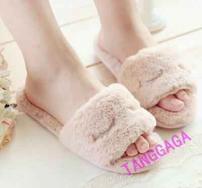 Womens Casual Fleece Plushed Cute Flats Indoor Home Shoes Slippers Pink EUR38-39