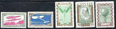 LATVIA 1932 AVIATION PIONEERS PERFORATED Sc CB9-13 VERY LH & FRESH - LOW START