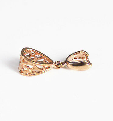 Rose Gold Plated Pinch Bail Connector Clasp Pendant 27mm Finding Bail - 10pcs