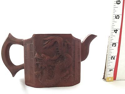 Red Dragon Asian Clay Teapot Stamped At Bottom Undated Unique