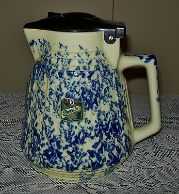 23cm VINTAGE MOTTLED BLUE CERAMIC 'SPEEDIE' ELECTRIC JUG bakelite lid,no cord