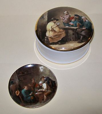 2 x VINTAGE CROWN STAFFORDSHIRE PIECES: LIDDED DISH / PIN DISH old tavern design