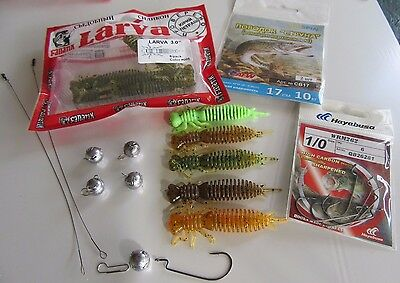 READY To Fish Set (18pcs) -Fanatik-Hayabusa offset-jig heads-LEADER string