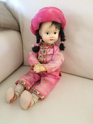 Antique Asian Doll Composition Head & Arms Wooden Body