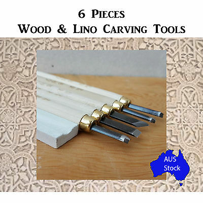 6 PCE Wood and Lino Carving Set Tools Cutting Hobby Arts and Crafts Sculpting