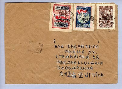 Korea Air Mail (black aux. mark) from Ke-Song('54-1-5) to Praha, DKNS mail? (07)