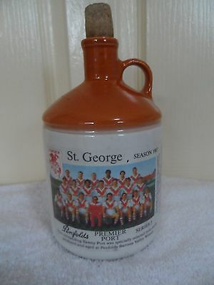 St George Dragons Penfolds Port Ceramic Bottle- 1987 (Empty)