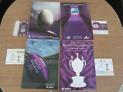 4 Challenge Cup Final Programmes & Ticket Stubs In Mint Condition