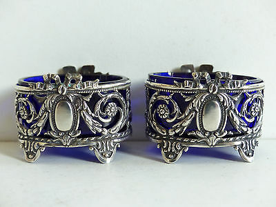 SUPERB PAIR of ANTIQUE FRENCH STERLING SILVER 950 SALT CELLAR c.1890's set 2
