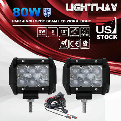 2X 4inch 80W LED Work Light Pods Spot Beam Philips Offroad Driving Lamp SUV ATV