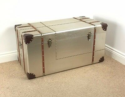 *SECOND* Extra Large Aviator Aluminium Vintage Style Chest - TRUNK COFFEE TABLE