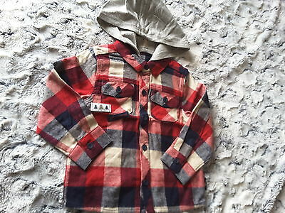 Carter Baby Boys Checked Hooded Shirt NEW 12/18m FREE P/P REDUCED
