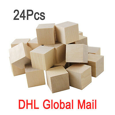 lieomo 24 Pcs 35mm Unfinished Wood Square Blocks Cubes Baby Wooden Cubes Puzzle