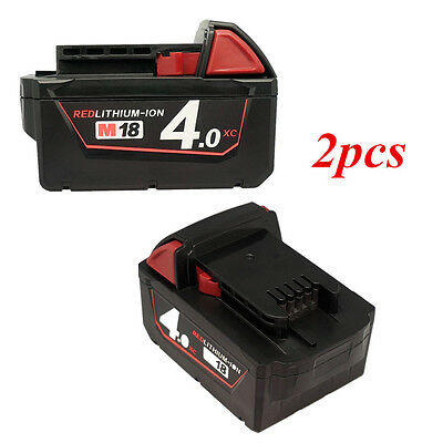 2X Milwaukee 4.0AH 18V M18 M18B4 48-11-1828 Red Lithium Ion XC 4.0 Battery NEW