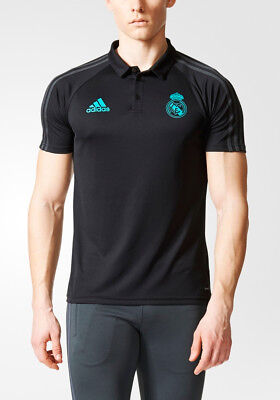 Real Madrid Adidas Polo Maillot Shirt CL Noir 2017 18 Homme