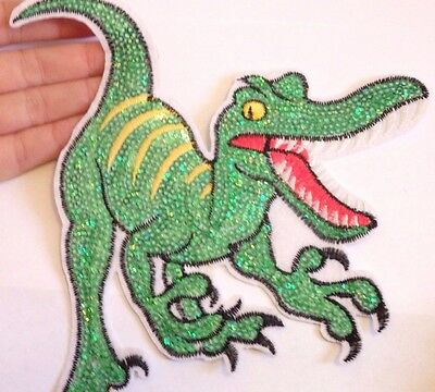 extra large dinosaur patches patch sequin applique iron on sew motif sewing UK