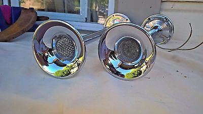 """Vintage Pair of Marine - Boat Chrome Trumpet Horns 12"""" and `14"""" 1948"""