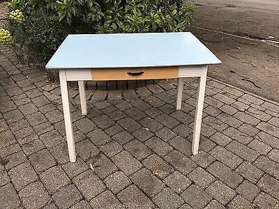 Vintage Blue Formica Table with drawer