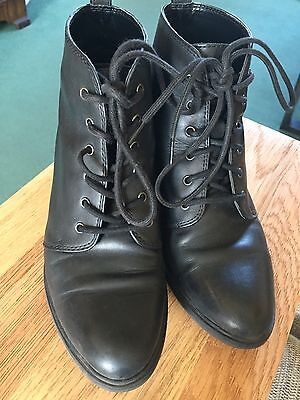 Office Lace Ankle Boots Black Size 4/37