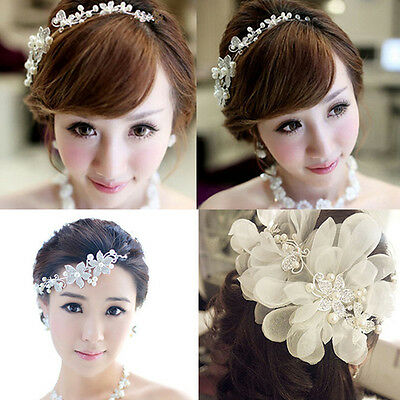 Crystal Pearl Flower Wedding Bridal Hair Pin Hair Band Clip Headband Comb