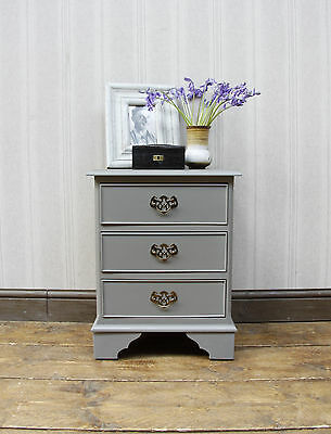 Shabby Chic Bedside Chest Drawers Reproduction, Mudlark grey, undistressed