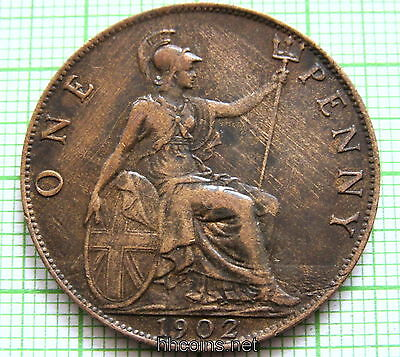 Great Britain Edward Vii 1902 Penny, Xf Scratches On Reverse