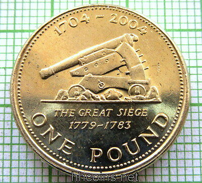 Gibraltar 2004 Pound, Old Cannon Set For Downhill Target, Unc