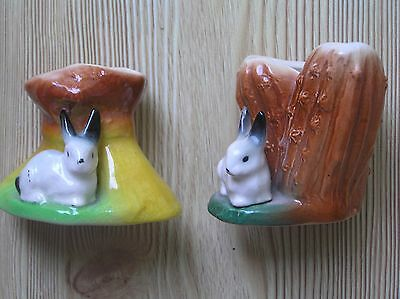 "Two Eastgate Fauna Pottery Tree Trunk Vases With A Rabbit: 3"" & 2.5"" Tall: Vgc"