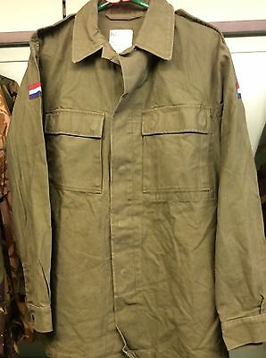 Vintage Dutch Army Issue Combat heavy shirt Jacket olive green bushcraft large