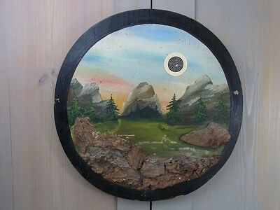 LA2/3 * Beautiful Landscape Hunt Target Vintage Antique German * Handpainted