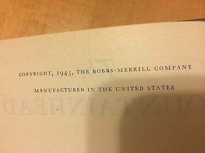 The Fountainhead First Edition Ayn Rand 1943 Rare, collectible book