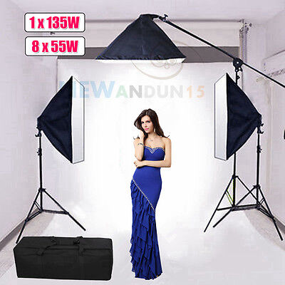 2875W Softbox Boom Arm Lighting Photography Studio Photo Light Stand Continuous