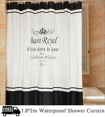 180 * 200cm Fashionable Waterproof Polyester Fabric & 12 Hooks Shower Curtain