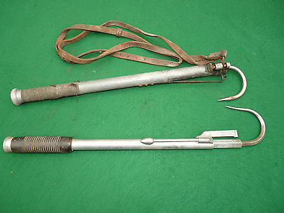 2 vintage alloy extending gaffs one with leather lanyard collectors lot