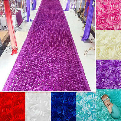 Satin 3D Rose Flower Aisle Marriage Decor Wedding Stage Carpet Curtain Mat Rugs