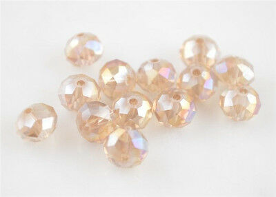 Hot!200Pcs Silver Champagne AB Crystal Glass Faceted Rondelle Bead 4x3mm Spacer