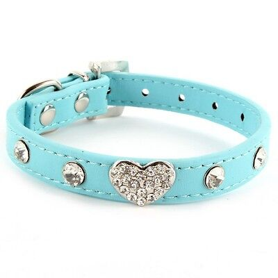 Pet Dogs Cat Bling Rhinestones Crystal Heart Leather Collar Adjustable Blue XS