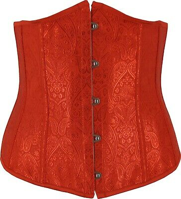 Red Underbust Corset Contoured Pointed Bust Lace Up Fully Boned Cincher Shaper