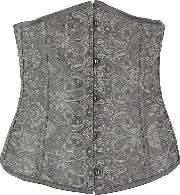 Grey Underbust Corset Contoured Pointed Bust Lace Up Fully Boned Cincher Shaper