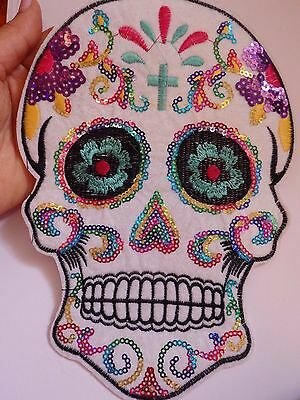 extra large sequin patches sugar skull patch applique iron on sew on motif UK