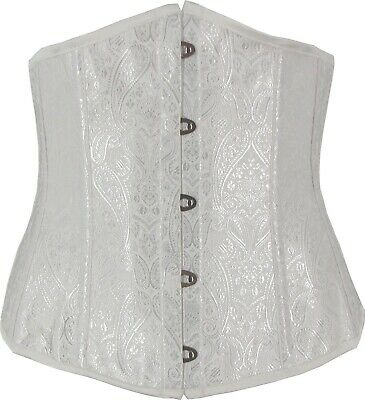 White Underbust Corset Contoured Pointed Bust Lace Up Fully Boned Cincher Shaper