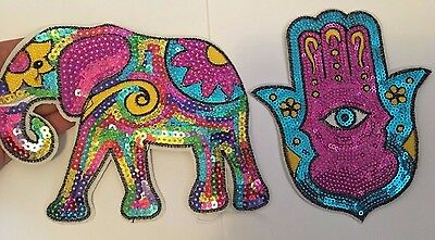 2 extra large sequin patches elephant hamsa hand patch applique iron on sew on